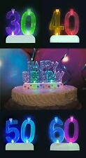 Flashing Number Candle Holder & 4 Candles Cake Decoration Happy Birthday