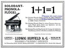 Piano solodant phonola Publicité 1910 HUPFELD Berlin ailes Piano Publicité +