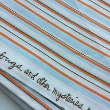 Heather Ross Free Spirit Lightning Bugs Striped Light Orange and Blue Fabric FQ