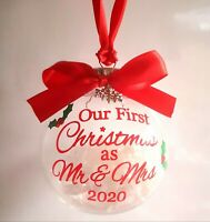 Bauble - First 1st Christmas Xmas as Mr & Mrs 2020
