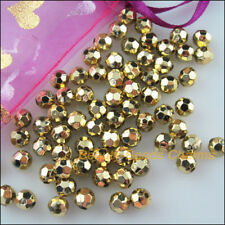 80Pcs Gold Plated Plastic Acrylic Round Faceted Space Beads Charms 8mm