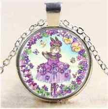Purple Ballerina Bunny Cabochon Glass Tibet Silver Chain Pendant Necklace