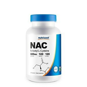 Nutricost N-Acetyl L-Cysteine (NAC) 600mg, 120 Vegetarian Capsules - Non-GMO