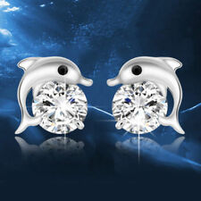 Womens Dolphin Earrings 925 Sterling Silver Plated Ear Stud Studs Crystal Girls