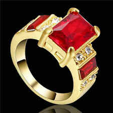 Bridal Luxury Red Size 8 Cute 10K Yellow Gold Filled Women's Wedding Ring Gift