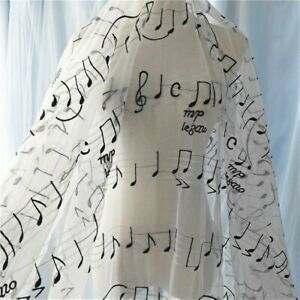 Music Note Tulle Embroidery Fabric for Luxury Costume Curtain Wedding Upholstery