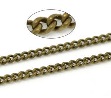 5M Hot Bronze Tone Link-Soldered Curb Chains 3x2mm
