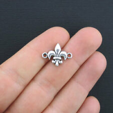 BULK 40 Fleur de Lis Connector Charms Antique Silver Tone - SC1197