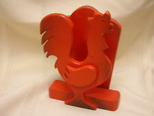 """Rooster Napkin Holder Red Wood 4 5/8"""" X 6 1/8"""""""