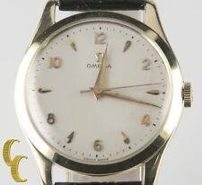 Omega Ω Vtg Men's 14k Yellow Gold Hand-Winding Watch  Leather Band Men's Gift!