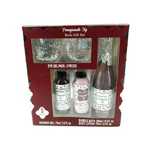 Pomegranate Fib Bath Set  5 Piece Eye Pads 2 Pieces Lather up Shower USA Seller