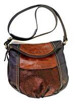 the Sak Deena Brown Metallic Bronze Black Leather Flap Cross Body size Medium