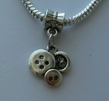 Sewing Clothing Button Seamstress Dangle Bead fit Silver European Charm Bracelet
