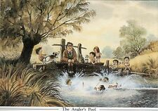 Norman Thelwell's Humourous Mounted Fishing Print - The Anglers Pool