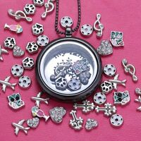 Hot DIY Black Floating Charms Locket Living Memory Necklace Beaded Chain Jewelry