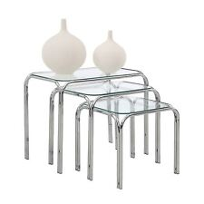 Set of 3 Nest of Tables with Glass Top and Chrome Legs