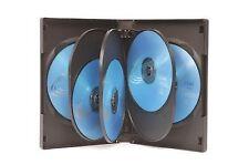 10 vías de 32mm DVD Multi casos Negro-Paquete de 5-casos-Heavy Duty 175 gramos Bla..