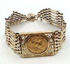 More details for full sovereign 1906 9ct gold gate bracelet 7 bar