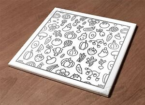 Ceramic Hot Plate kitchen Trivet Holder vegy sketch paint decor design gift