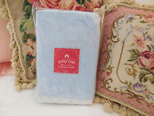 "Amy Coe limited edition Crib dust ruffle ""Becca"" blue gingham crochet lace Chic"