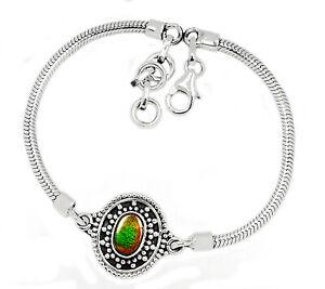 Canadian Ammolite 925 Sterling Silver Bracelet XGB Jewelry SB16675