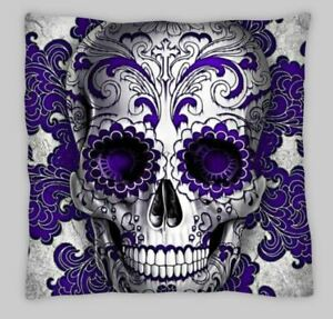 PURPLE  Sugar Skull Tattoo Goth Candy Pillow Case Cushion Cover  day of the dead
