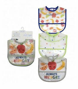 Baby Boys Pack Of 3 PEVA Bibs Water Proof Hook & Loop Bib Pocket Easy Clean 8874