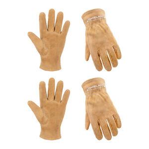 Kids Leather Work Gloves Children Cowhide Garden Gloves for Age 2-9 Girls Boys