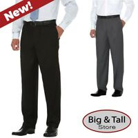 Big & Tall Expandable Waist Crosshatch Dress Pants by Savane - Waist 42 - 60