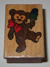 Teddy Bear ICE CREAM Cone Rubber Stamp #4 Wood Mounted DIY Crafts Dessert Toy