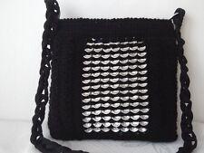 Bolso Mano Crochet Anillo Bolsa Tire/Anillo de hilo y puede tirar negro patrón de tracción