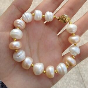 Heart Charm Gold Peacock Pearl Bracelet Freshwater Pearl Gold Bracelet Wire Wrapped Rosary Style 14k Gold Filled Large Baroque Pearl