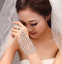 Silver White Clear Rhinestone Slave Hand Ring Bracelet Bride Belly Dance Wrist