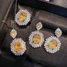 3pcs 1 Lot Natural Shiny Golden Citrine Gems Flower Necklace Earrings Rings New
