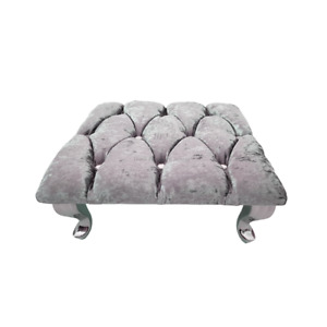 Grey Chesterfield Footstool Square Crushed Velvet Diamante Queen Anne Legs