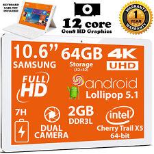 64GB Tablet 10.6 FHD Samsung Screen Quad Core 64 bit Intel x5 4K Dual Camera 2GB