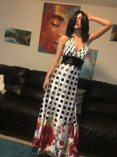 🌺 Cinderella Polka Dot Floral Beaded Halter Prom Pageant Party Long Dress 6