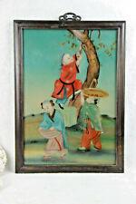 Chinese EGLOMISE Reverse glass painting children fruit picking rare