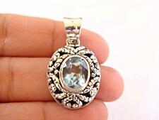 Blue Topaz Solitaire Balinese 925 Sterling Silver Pendant