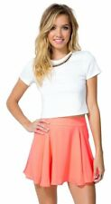 Womens Quality Mini Skater Pink Skirt Stretch Short Flared  Ribbed Plain Dress.