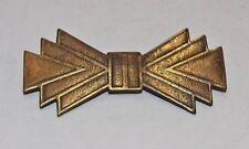 Bow Pin Art Deco Brass Vintage Antiqued Geometric 56mm  1 Pin Brooch