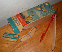 VINTAGE JIM WALKER Folding Wing  INTERCEPTOR BALSA WOOD FLYING AIRPLANE BOX Rare