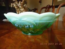 2003 Mosser Glass Ohio Cherry Thumbprint Green Opalescent Round Bowl 9 3/8""