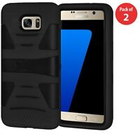 For Samsung Galaxy S7 - Hard Rubber Hybrid Armor Case Cover Black with Kickstand