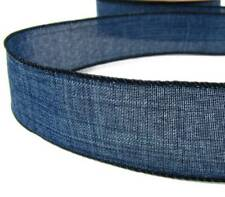 "5 Yds Blue Denim Jeans Country Wired Ribbon 1 1/2""W"