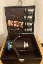 Vtg 1960s Londonaire Black Leather Travel Portable Pub Cocktail Shaker Set w Key