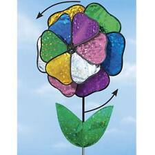 3 Ft. Tall Dazzling Holographic Flower Wind Spinner Outdoor Garden Stake