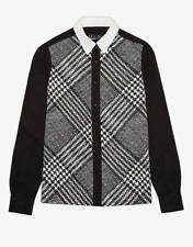 FRED PERRY WOMENS B&W PRINCE OF WALES CHECK SHIRT -UK 8/EU 36- NEW -RRP £85-