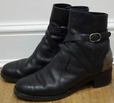 CHANEL Black Calfskin Leather Silver Branded Buckle Fastened Ankle Boots 40.5C