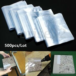 """500Pcs PVC Heat Shrink Wrap Film Clear Flat Bags Soap Candle Packing 10"""""""